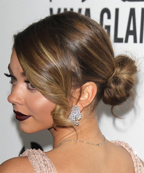 Medium Straight Formal Updo  - Light Brunette - Side on View