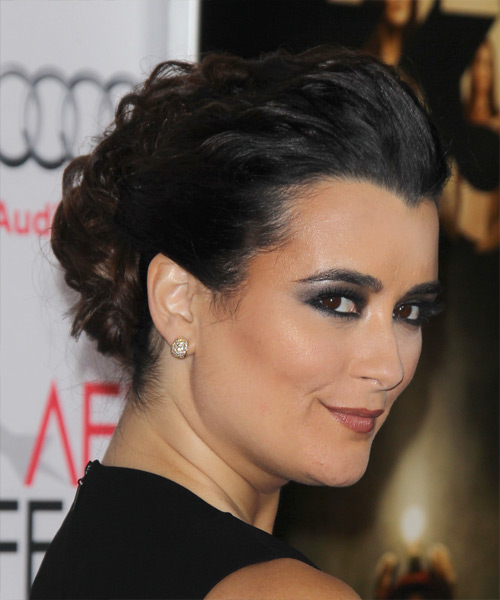 Cote de Pablo Long Wavy Formal Wedding Updo Hairstyle   - Black - Side on View
