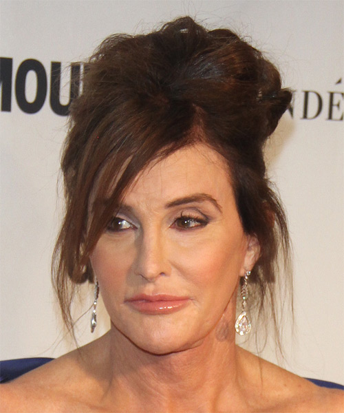 Caitlyn Jenner Long Straight    Chocolate Brunette  Updo    - Side on View