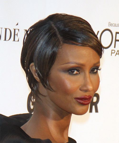Iman Short Straight Formal   Hairstyle   - Medium Brunette (Chocolate) - Side on View