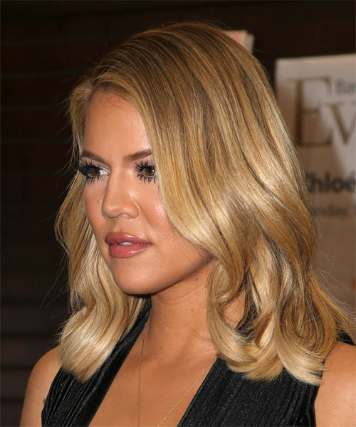 Khloe Kardashian Medium Wavy Casual   Hairstyle   - Medium Blonde - Side on View