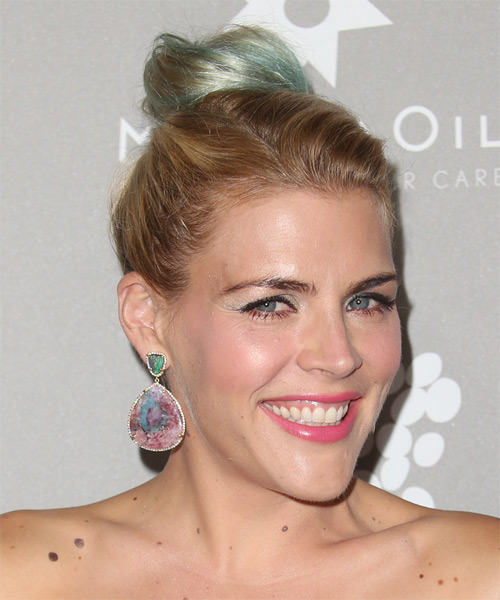 Busy Philipps  Long Straight Casual  Updo Hairstyle   - Medium Blonde - Side on View