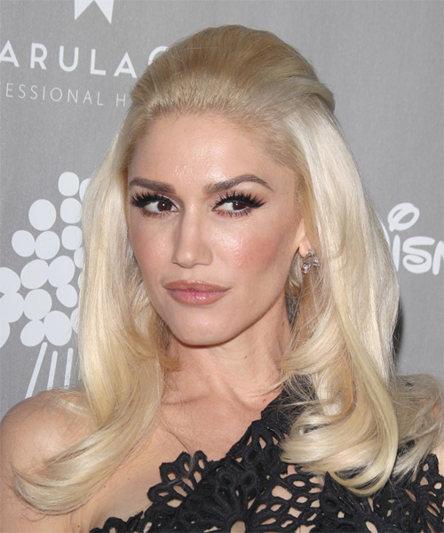 Gwen Stefani Long Straight Formal  Half Up Hairstyle   - Light Blonde - Side on View
