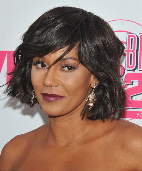 Mel B Medium Straight Casual   Hairstyle with Side Swept Bangs  - Dark Brunette - Side on View