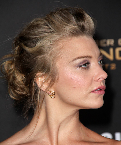 Natalie Dormer  Long Wavy   Dark Ash Blonde  Updo    - Side on View