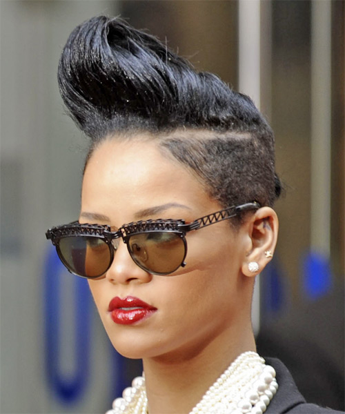 Rihanna Short Straight Alternative Undercut  Hairstyle   - Black - Side on View