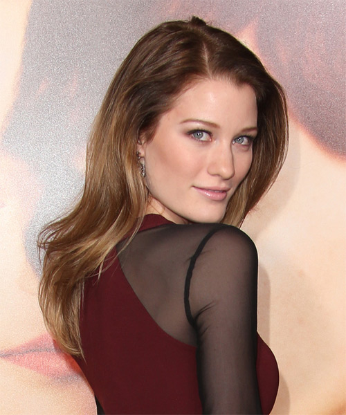 Ashley Hinshaw Long Straight Casual   Hairstyle   - Medium Brunette - Side on View