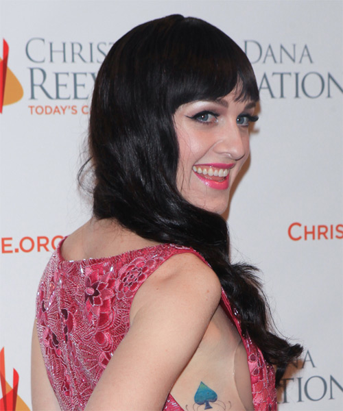 Lena Hall Long Wavy Casual    Hairstyle with Blunt Cut Bangs  - Black  Hair Color - Side on View