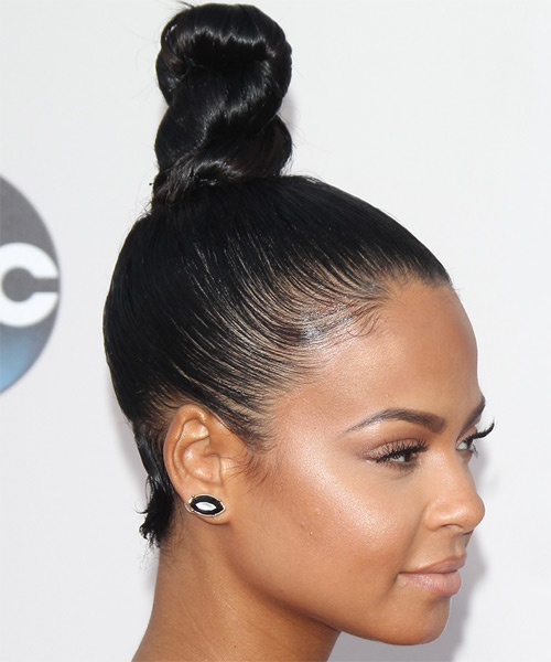 Christina Milian Long Straight   Black   Updo    - Side on View