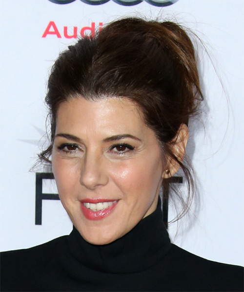 Marisa Tomei Long Straight Casual  Updo Hairstyle   - Dark Brunette - Side on View
