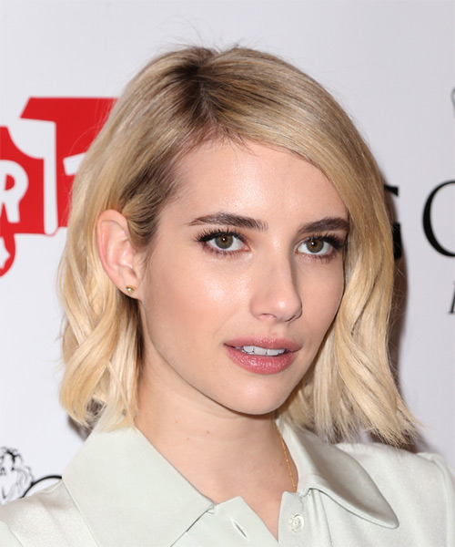 Emma Roberts Medium Straight Casual   Hairstyle   - Light Blonde - Side on View