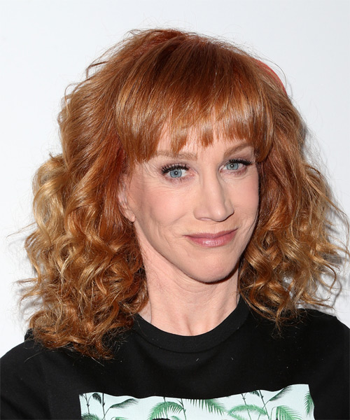 Kathy Griffin Medium Curly    Ginger Red   Hairstyle with Layered Bangs  - Side on View