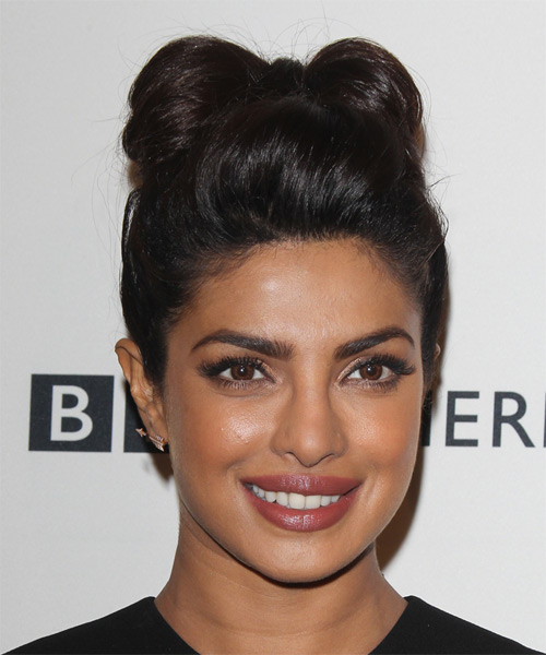 Priyanka Chopra Long Straight Formal Wedding Updo Hairstyle   - Dark Brunette - Side on View