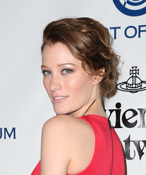 Ashley Hinshaw Long Wavy Casual Wedding Updo Hairstyle   - Medium Brunette (Auburn) - Side on View