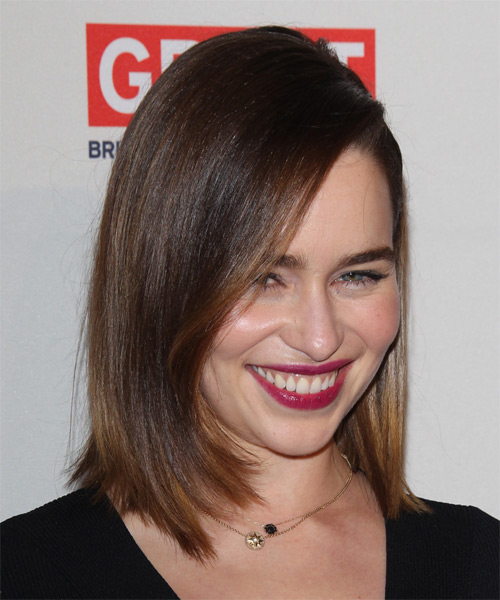 Emilia Clarke Medium Straight    Brunette Bob  Haircut   - Side on View