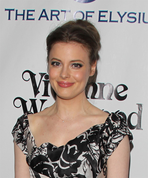 Gillian Jacobs Long Straight Casual Wedding Updo Hairstyle   - Medium Brunette (Chestnut) - Side on View