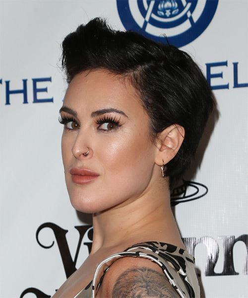 Rumer Willis Short Straight Casual   Hairstyle   - Dark Brunette - Side on View