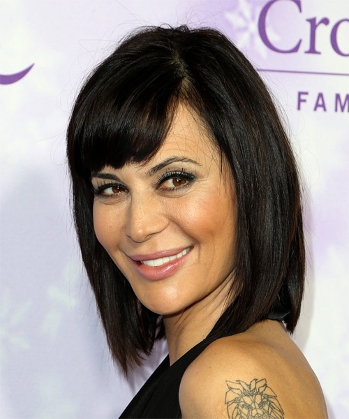 Catherine Bell Medium Straight Casual   Hairstyle   - Side on View