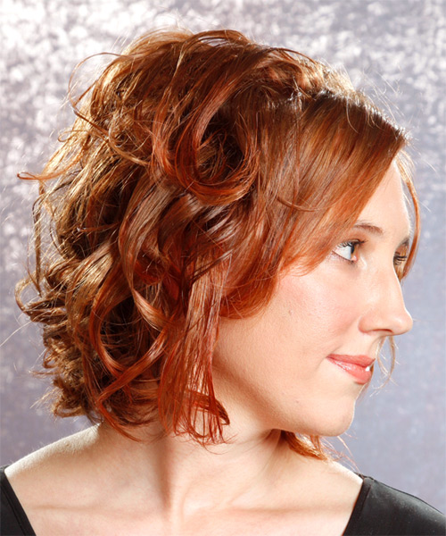 Medium Curly Formal   Hairstyle   - Side on View