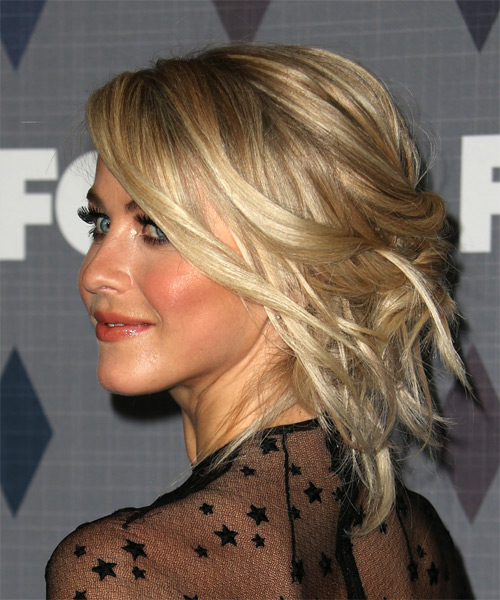 Julianne Hough Medium Wavy Formal  Updo Hairstyle   - Side on View