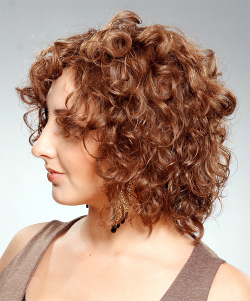 Medium Curly Casual    Hairstyle   - Light Brunette Hair Color - Side on View