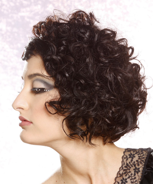 Short Curly Casual   Hairstyle with Asymmetrical Bangs  - Black - Side on View