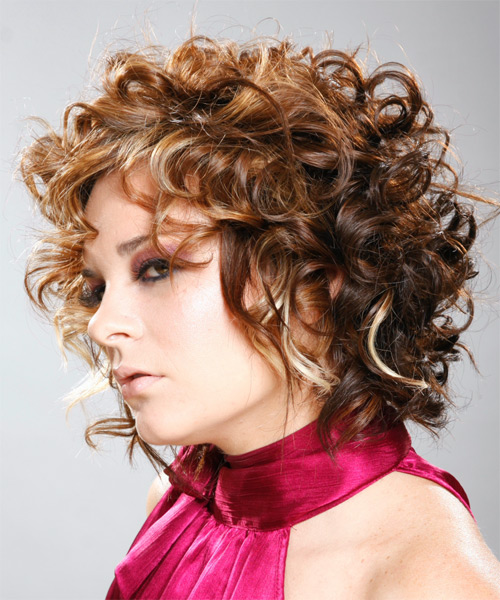 Short Curly Formal   Hairstyle with Layered Bangs  - Medium Brunette (Auburn) - Side on View