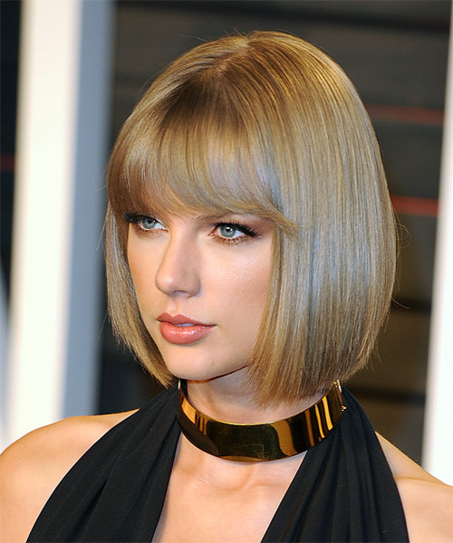 Taylor Swift Medium Straight   Dark Blonde Bob  Haircut with Blunt Cut Bangs  - Side on View