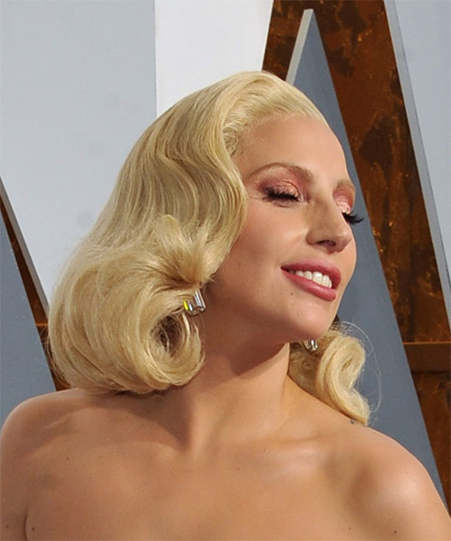 Lady Gaga Medium Wavy Formal Bob  Hairstyle   - Light Blonde (Platinum) - Side on View