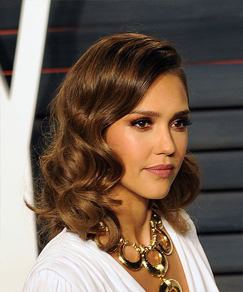 Jessica Alba Medium Wavy Formal   Hairstyle   - Medium Brunette (Caramel) - Side on View