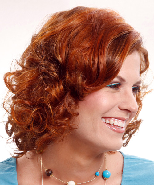 Medium Curly Formal   Hairstyle   - Light Red (Ginger) - Side on View