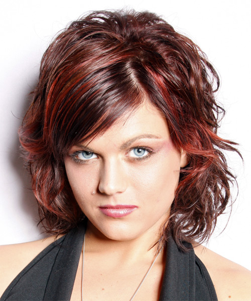 Medium Wavy Casual   Hairstyle with Side Swept Bangs  - Dark Red - Side on View