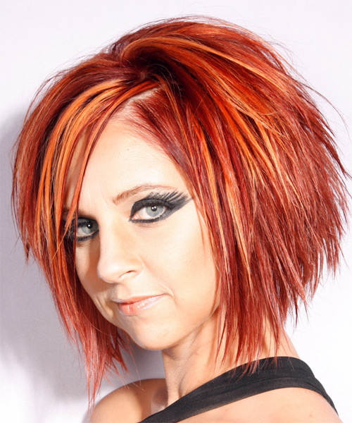 Medium Straight Alternative   Hairstyle with Side Swept Bangs  - Orange (Bright) - Side on View
