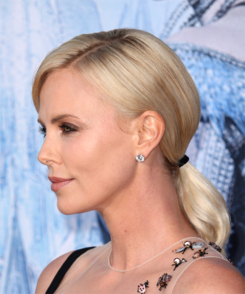Charlize Theron Medium Straight   Light Champagne Blonde  Updo  with Side Swept Bangs  - Side on View