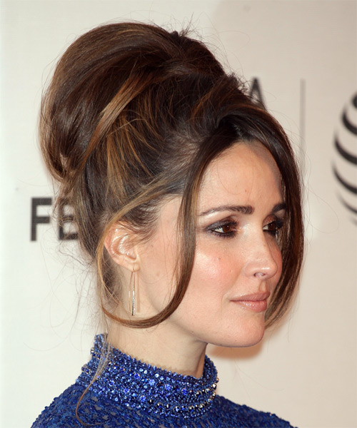 Rose Byrne Medium Wavy    Brunette  Updo  with Side Swept Bangs  and  Brunette Highlights - Side on View