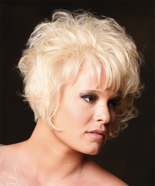 Short Curly   Light Platinum Blonde   Hairstyle   - Side on View