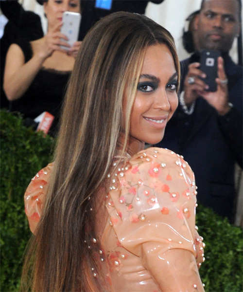 Beyonce Long Straight Formal    Hairstyle   - Black  Hair Color with  Blonde Highlights - Side on View