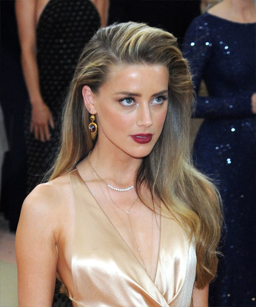 Amber Heard Long Straight Formal   Hairstyle   - Dark Blonde (Golden) - Side on View