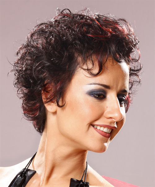 Short Curly   Dark Brunette   Hairstyle   with  Red Highlights - Side on View