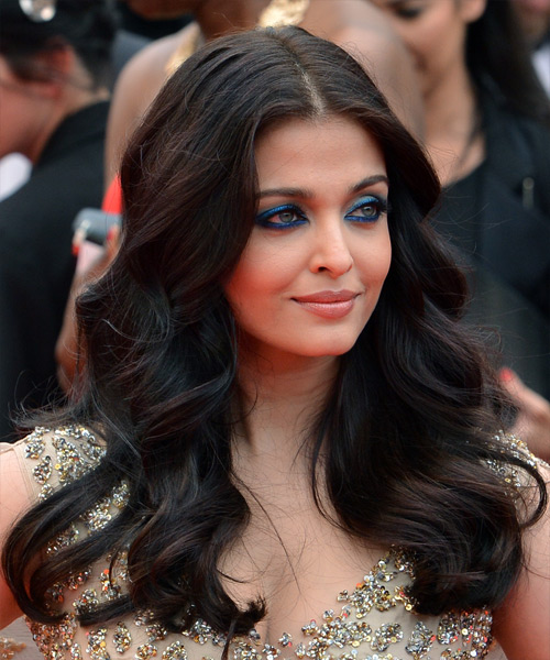 Aishwarya Rai Long Wavy Formal    Hairstyle   - Black  Hair Color - Side on View