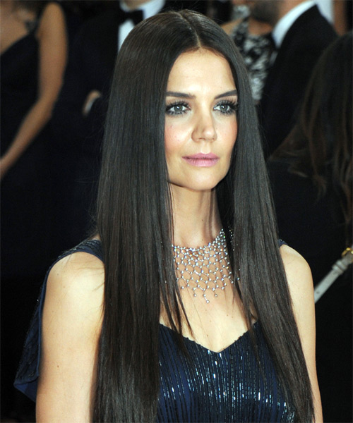 Katie Holmes Long Straight Formal   Hairstyle   - Dark Brunette (Chocolate) - Side on View