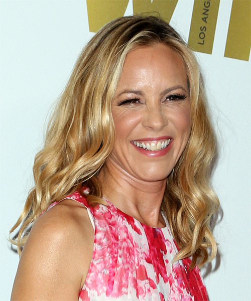 Maria Bello Medium Wavy Casual   Hairstyle   - Light Blonde (Golden) - Side on View