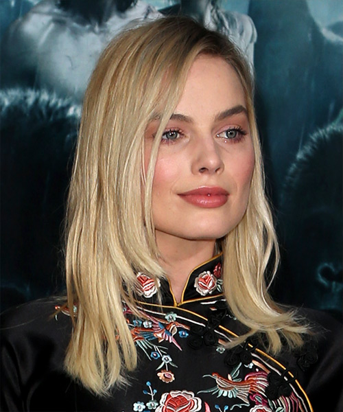 Margot Robbie Medium Straight Formal   Hairstyle   - Light Blonde - Side on View