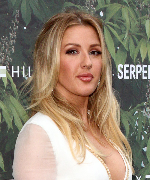 Ellie Goulding Long Wavy Casual   Hairstyle   - Medium Blonde - Side on View