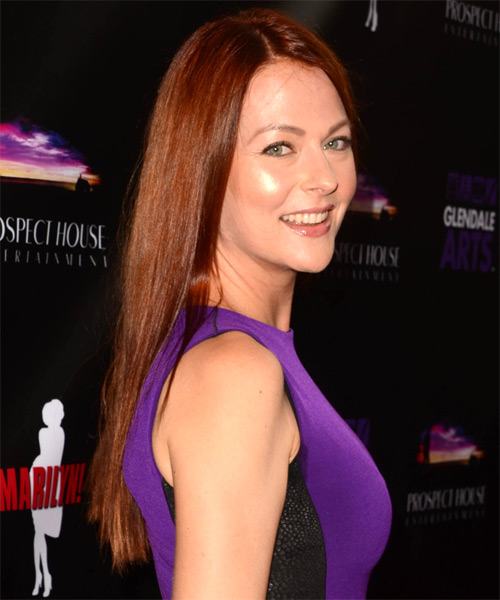 Anna Easteden Long Straight Casual    Hairstyle   - Dark Red Hair Color - Side on View