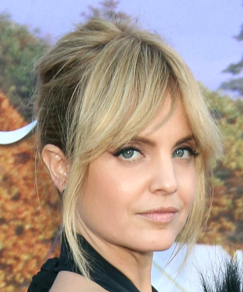Mena Suvari Long Straight Formal Wedding Updo Hairstyle with Layered Bangs  - Light Blonde - Side on View