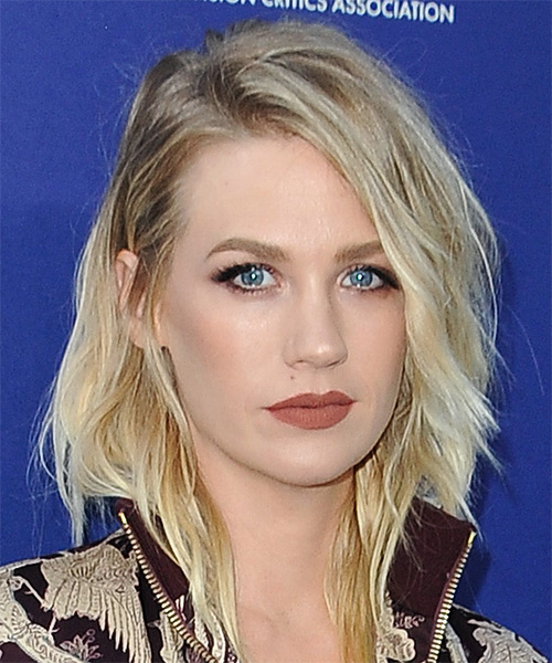 January Jones Medium Wavy Casual Bob  Hairstyle   - Light Blonde - Side on View