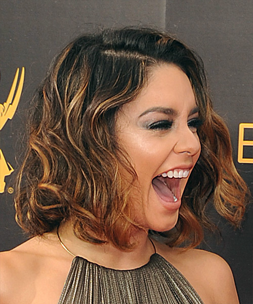Vanessa Hudgens Medium Wavy Formal Bob  Hairstyle   - Medium Brunette - Side on View