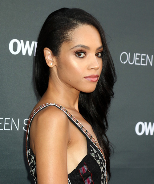 Bianca Lawson Long Wavy Formal   Hairstyle   - Black - Side on View