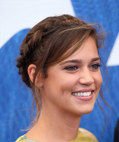 Matilda Lutz Long Straight Casual  Braided Updo Hairstyle with Side Swept Bangs  - Medium Brunette Hair Color - Side on View